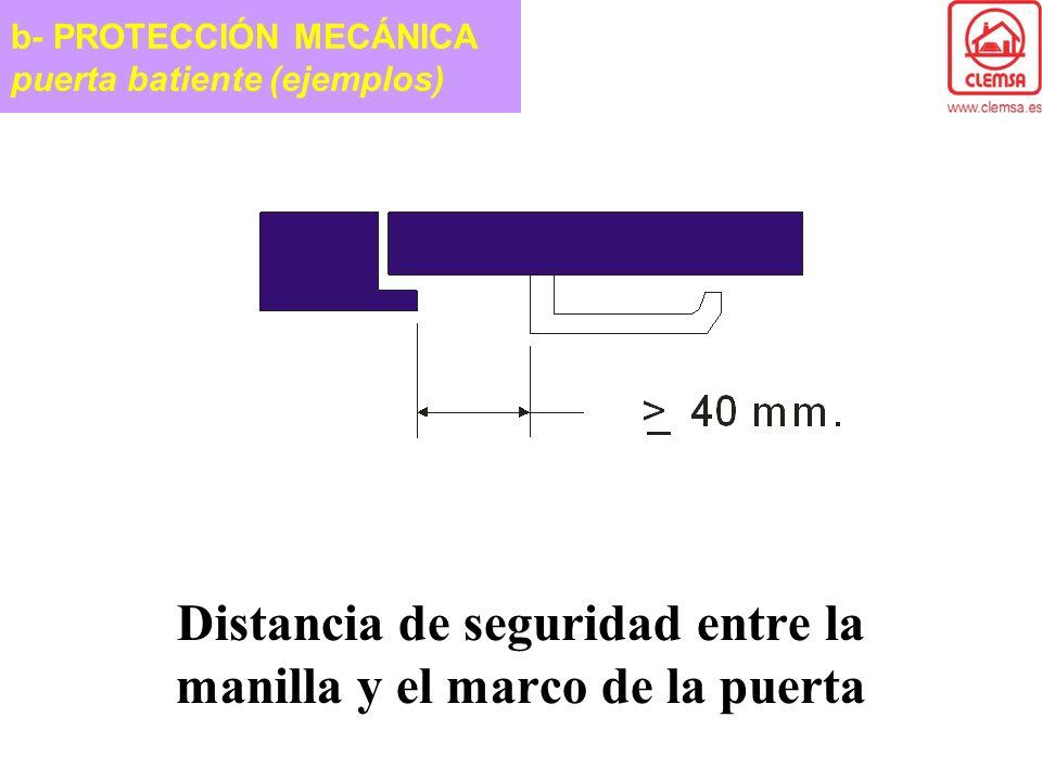 Distancia de seguridad entre la manilla y el marco de la puerta