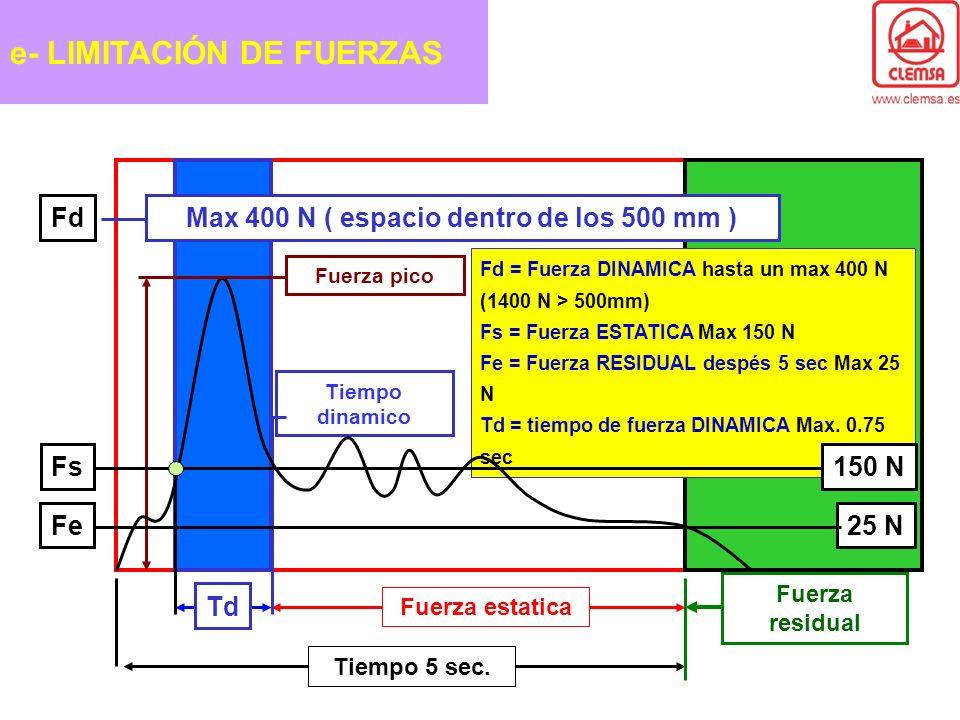 Max 400 N ( espacio dentro de los 500 mm )