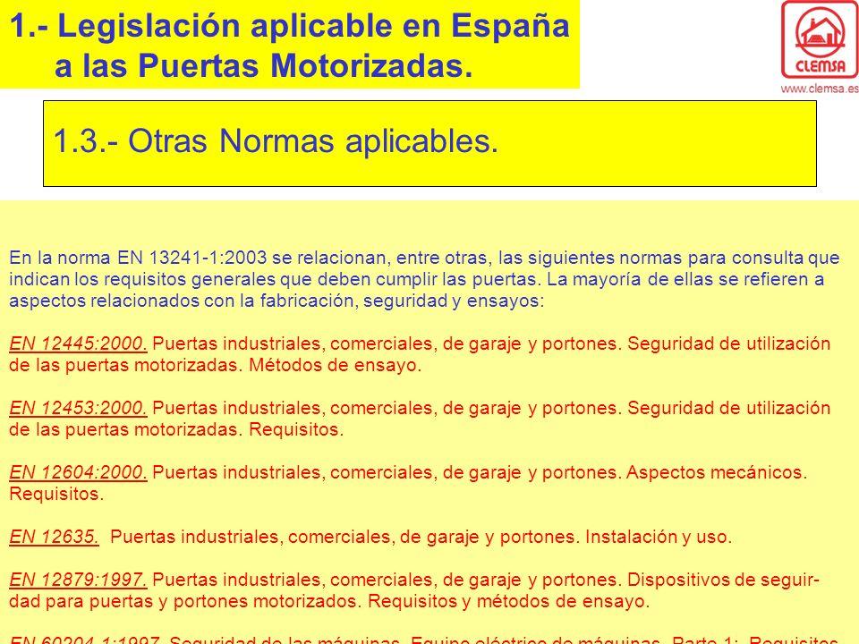 1.- Legislación aplicable en España