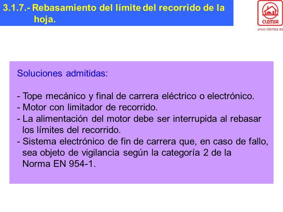 3.1.7.- Rebasamiento del límite del recorrido de la hoja.