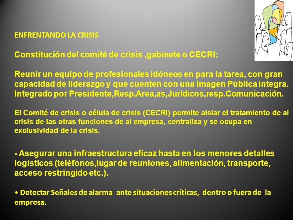 Constitución del comité de crisis ,gabinete o CECRI: