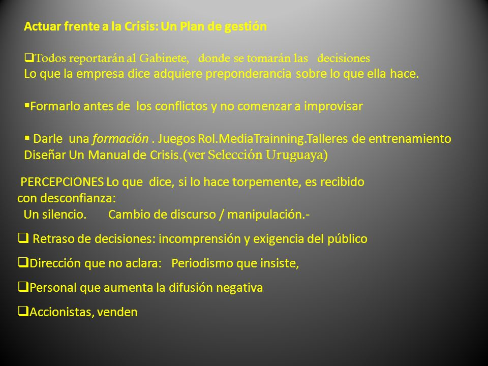 Actuar frente a la Crisis: Un Plan de gestión