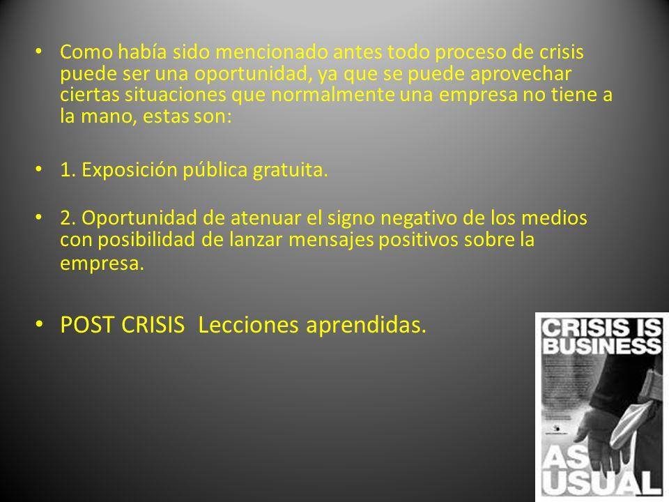 POST CRISIS Lecciones aprendidas.