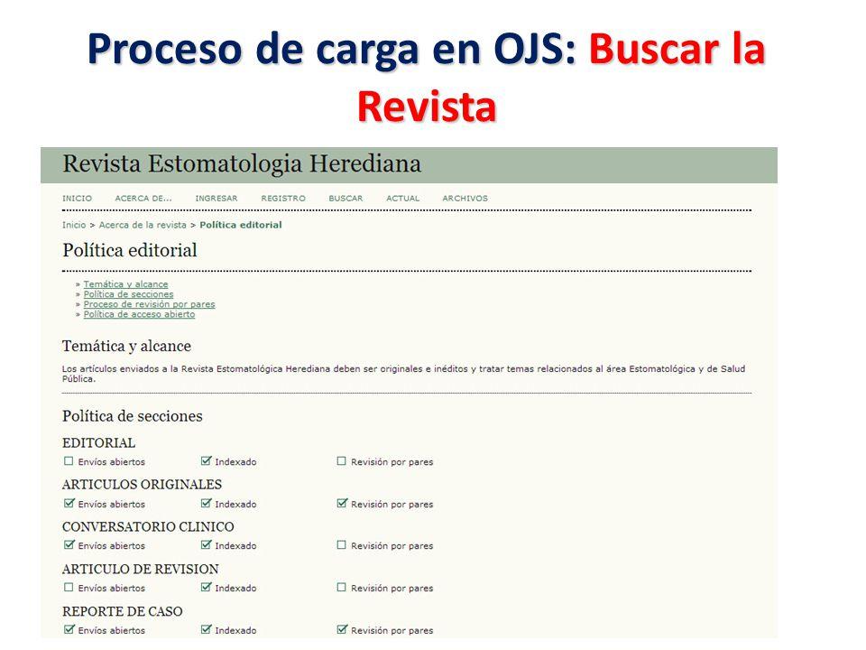 Proceso de carga en OJS: Buscar la Revista