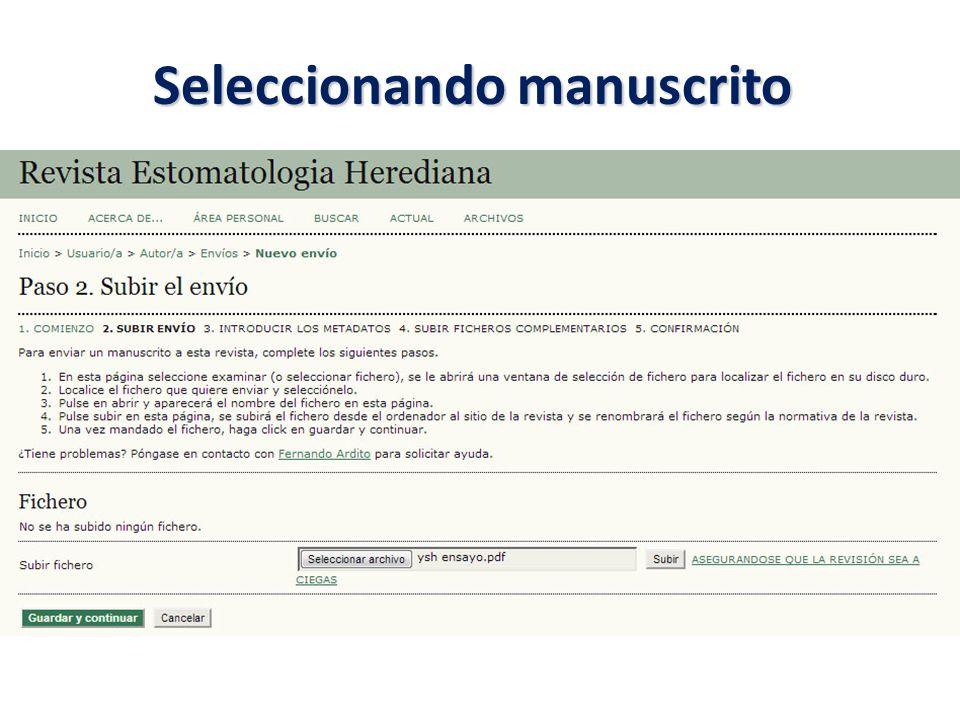 Seleccionando manuscrito