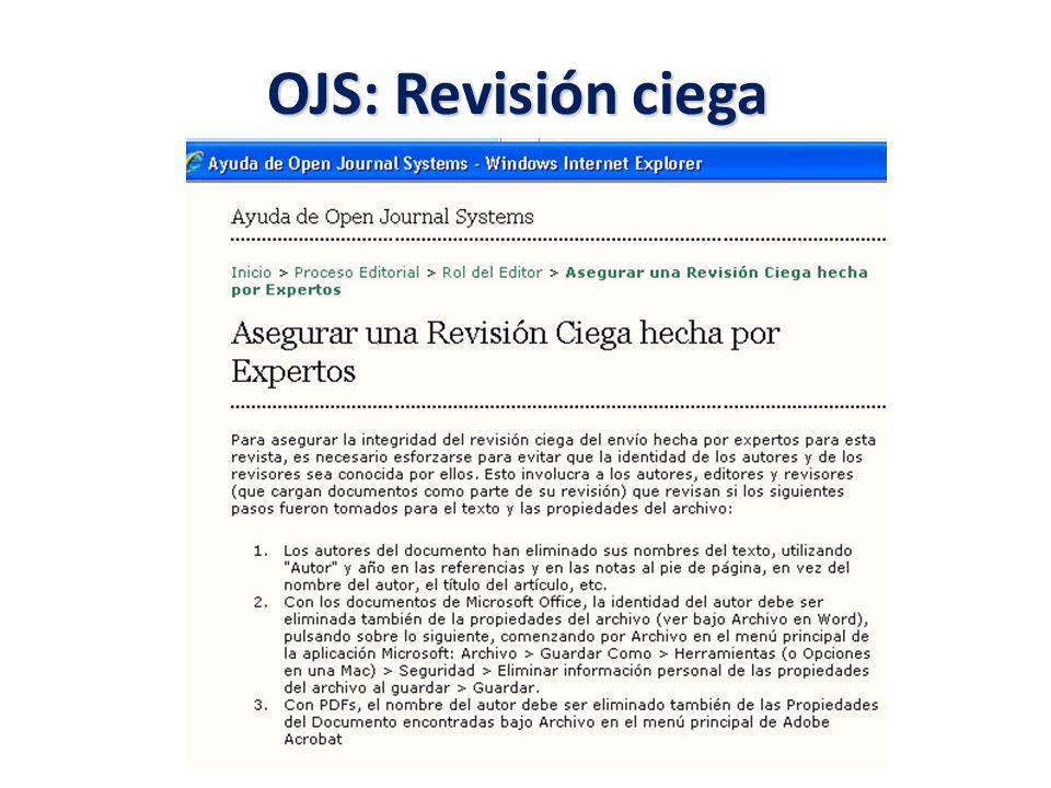 OJS: Revisión ciega
