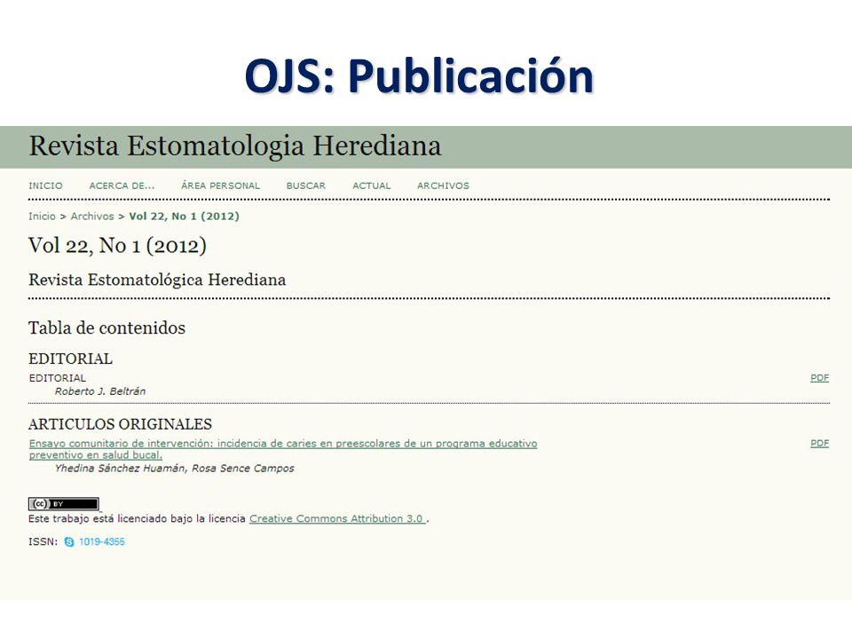 OJS: Publicación