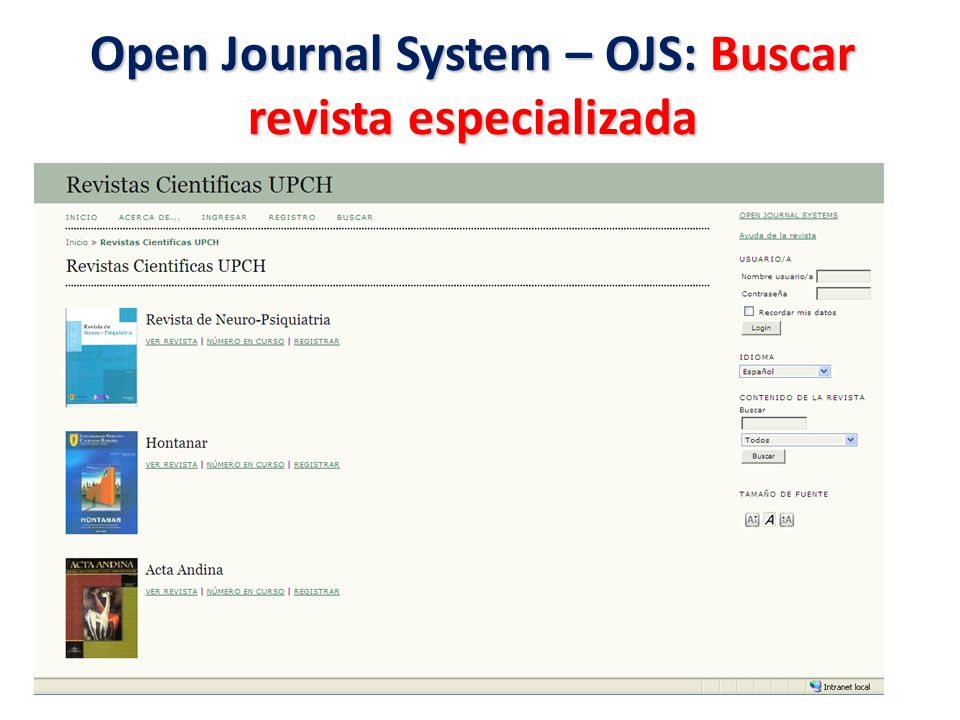 Open Journal System – OJS: Buscar revista especializada