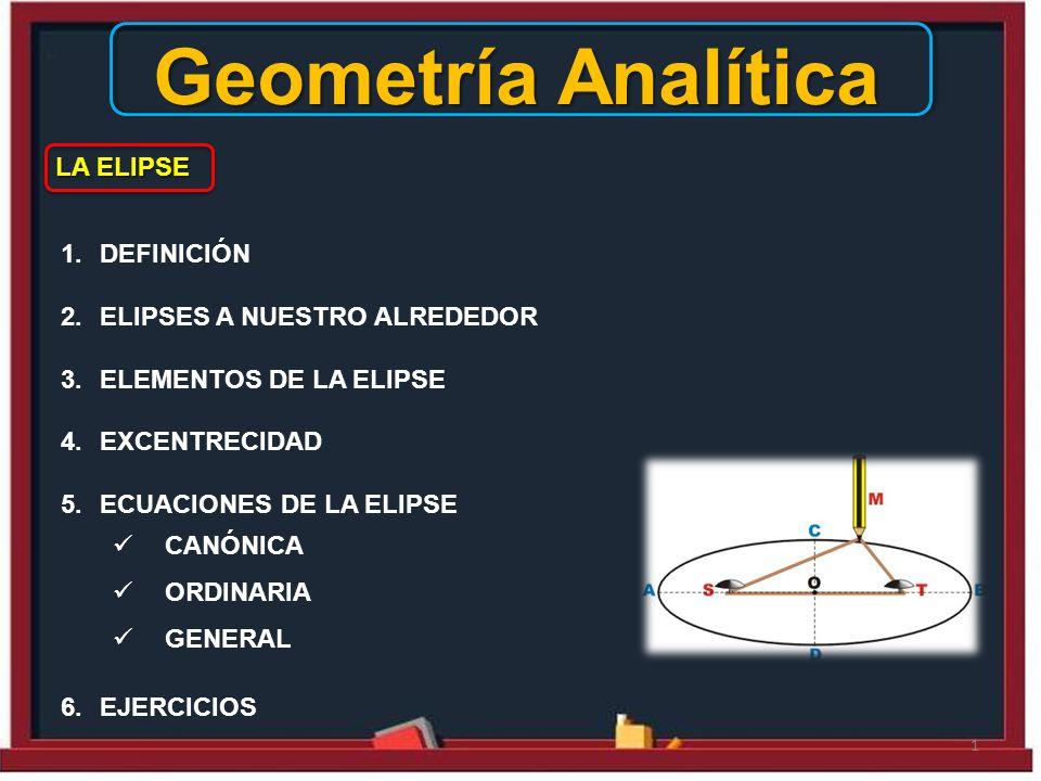 Geometría Analítica LA ELIPSE DEFINICIÓN ELIPSES A NUESTRO ALREDEDOR