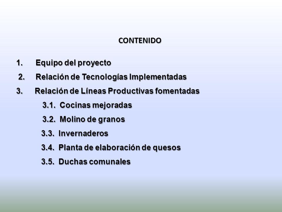 CONTENIDO Equipo del proyecto 2. Relación de Tecnologías Implementadas