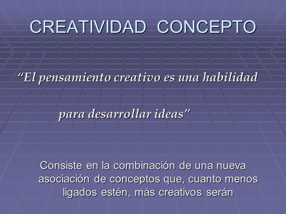 CREATIVIDAD CONCEPTO El pensamiento creativo es una habilidad