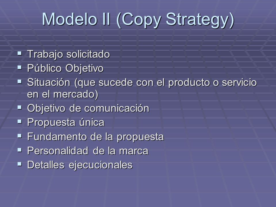 Modelo II (Copy Strategy)