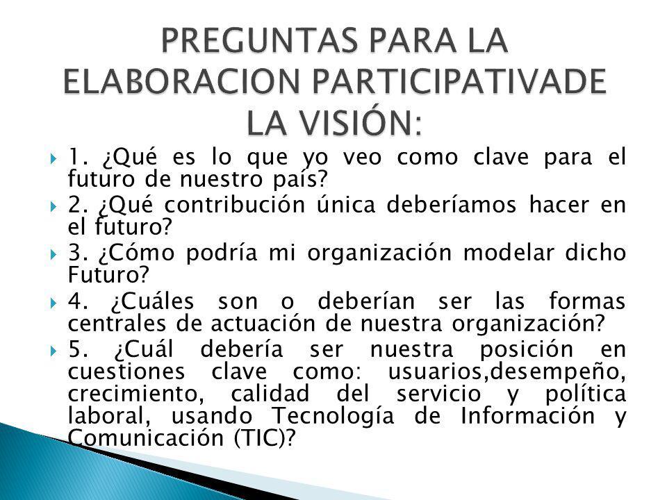 PREGUNTAS PARA LA ELABORACION PARTICIPATIVADE LA VISIÓN: