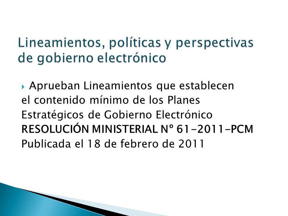 Lineamientos, políticas y perspectivas de gobierno electrónico
