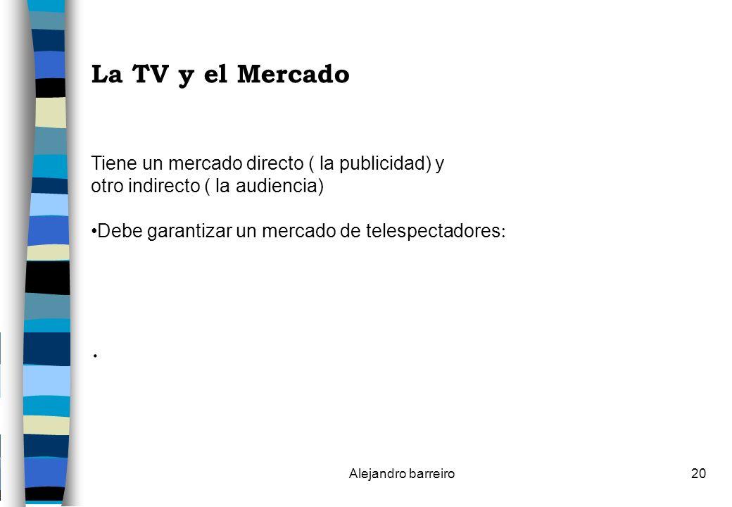La TV y el Mercado . Tiene un mercado directo ( la publicidad) y