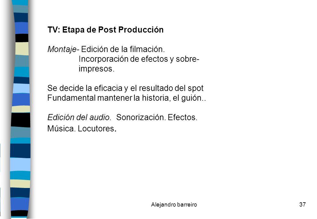 TV: Etapa de Post Producción Montaje- Edición de la filmación.