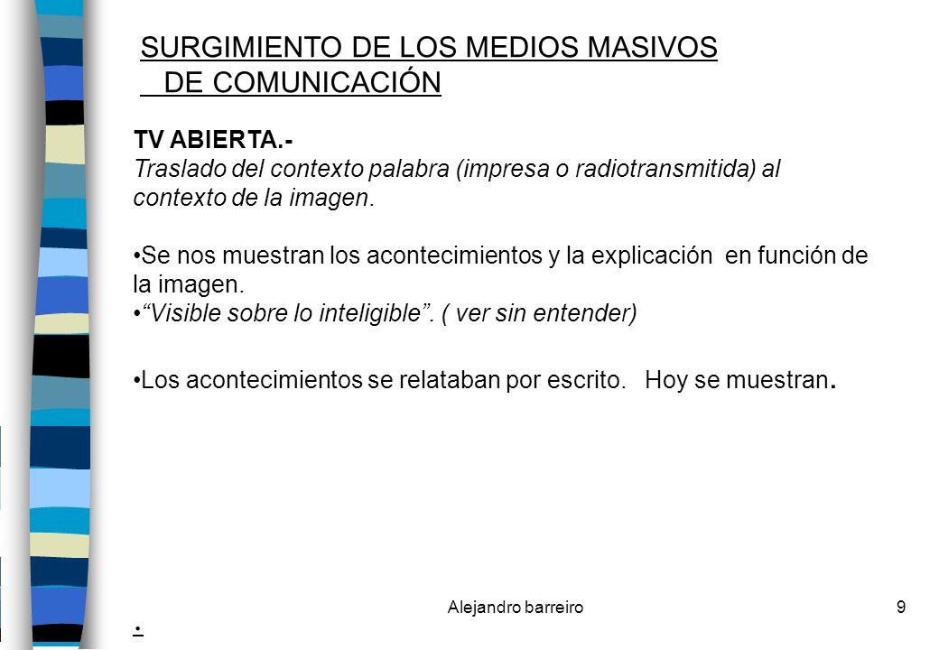 . SURGIMIENTO DE LOS MEDIOS MASIVOS DE COMUNICACIÓN TV ABIERTA.-