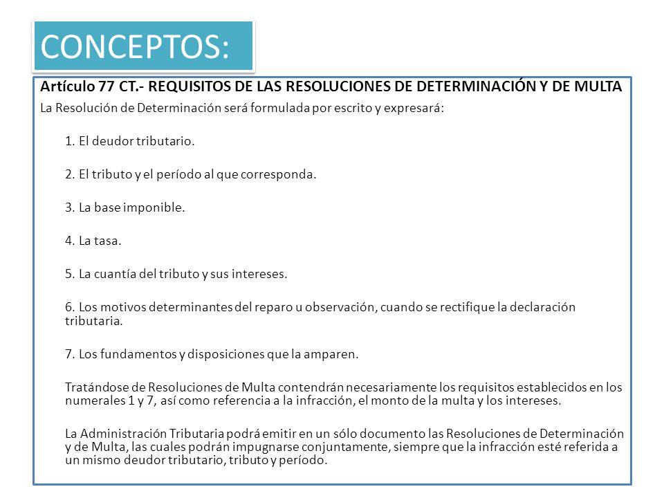 CONCEPTOS: Artículo 77 CT.- REQUISITOS DE LAS RESOLUCIONES DE DETERMINACIÓN Y DE MULTA.