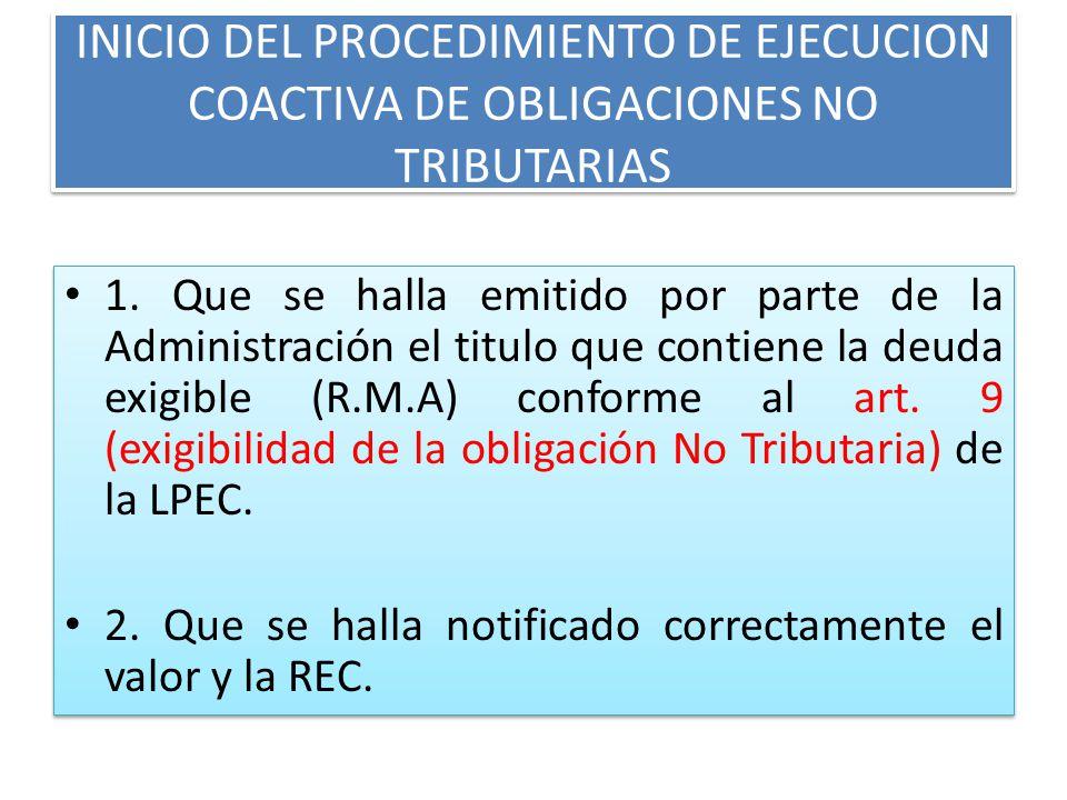 INICIO DEL PROCEDIMIENTO DE EJECUCION COACTIVA DE OBLIGACIONES NO TRIBUTARIAS