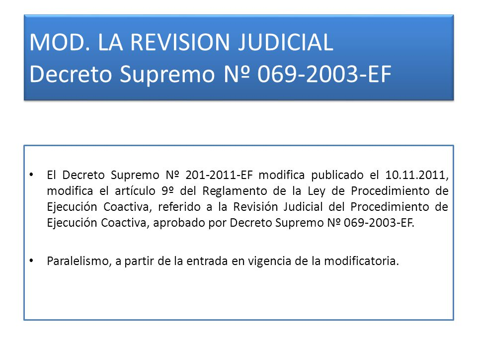 MOD. LA REVISION JUDICIAL Decreto Supremo Nº 069-2003-EF