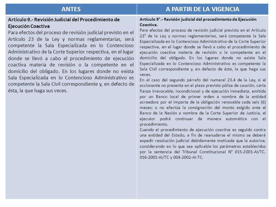 ANTES A PARTIR DE LA VIGENCIA