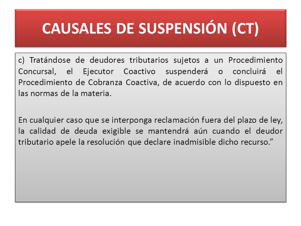 CAUSALES DE SUSPENSIÓN (CT)