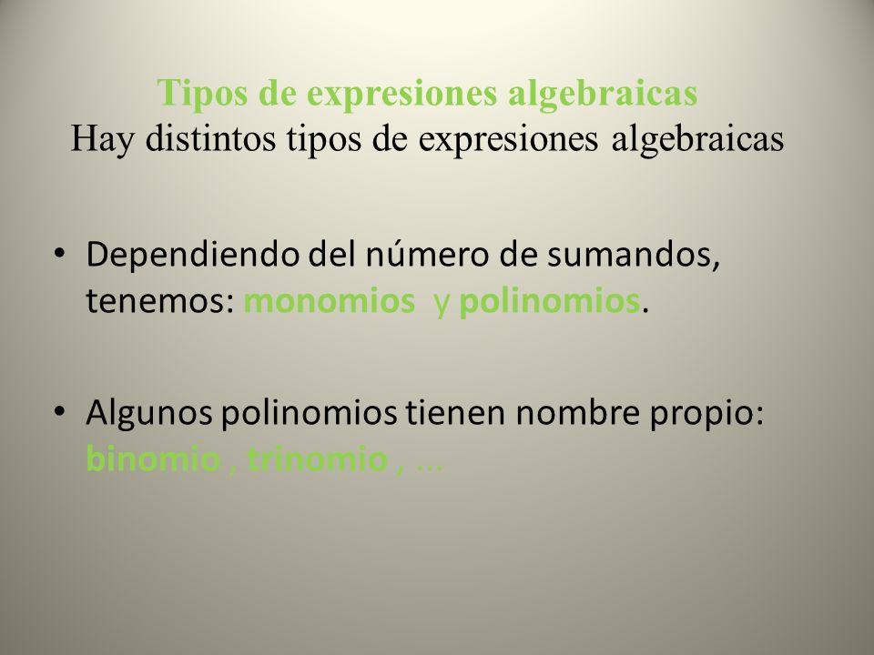Tipos de expresiones algebraicas Hay distintos tipos de expresiones algebraicas