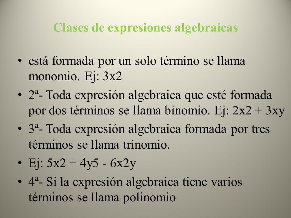 Clases de expresiones algebraicas