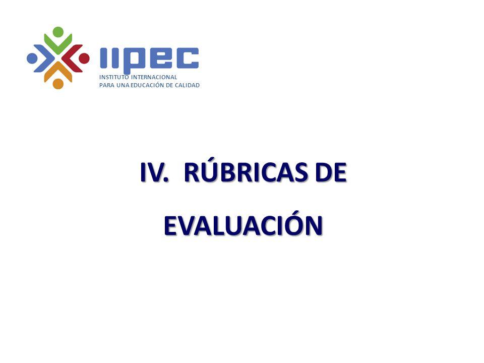 IV. RÚBRICAS DE EVALUACIÓN