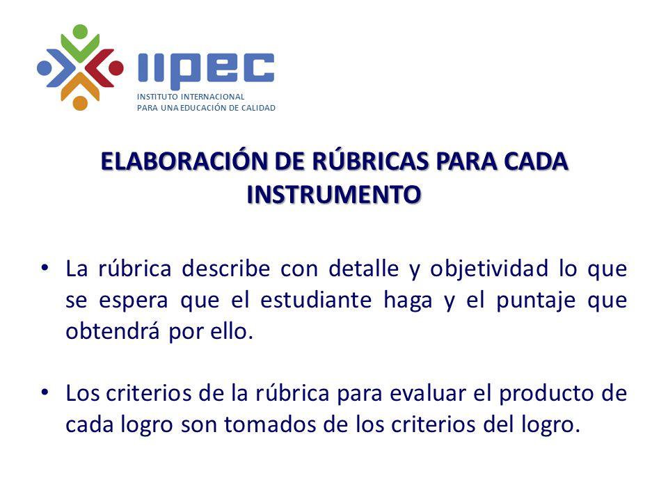 ELABORACIÓN DE RÚBRICAS PARA CADA INSTRUMENTO