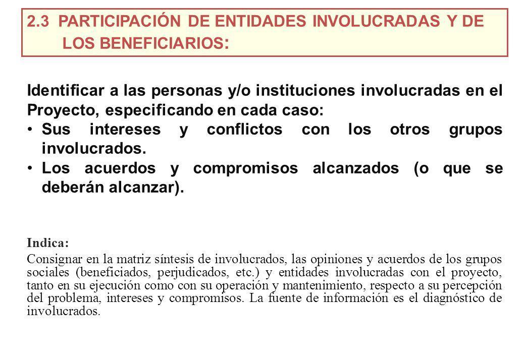 2.3 PARTICIPACIÓN DE ENTIDADES INVOLUCRADAS Y DE LOS BENEFICIARIOS: