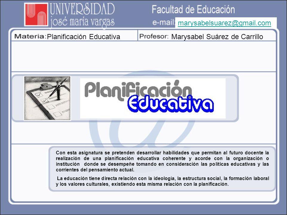 Planificación Educativa Marysabel Suárez de Carrillo