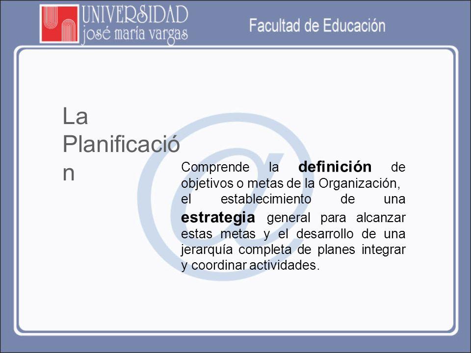 La Planificación Comprende la definición de objetivos o metas de la Organización,