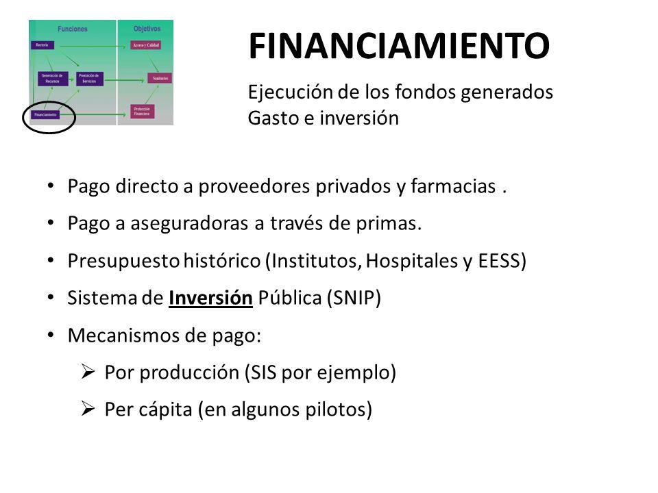 FINANCIAMIENTO Ejecución de los fondos generados Gasto e inversión