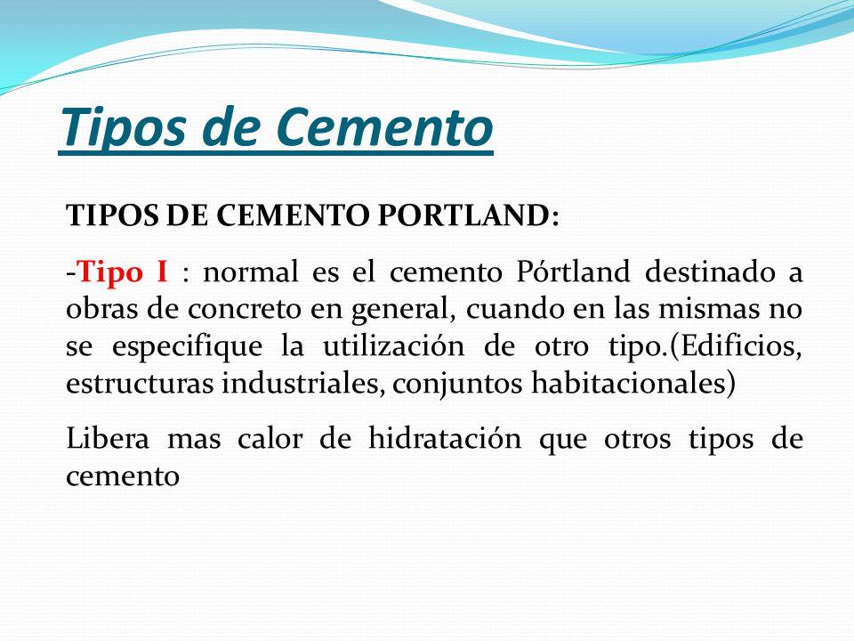 Tipos de Cemento TIPOS DE CEMENTO PORTLAND: