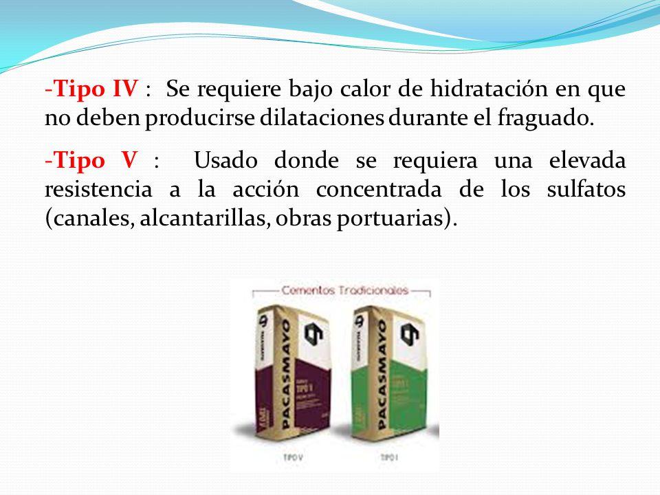 Tipo IV : Se requiere bajo calor de hidratación en que no deben producirse dilataciones durante el fraguado.