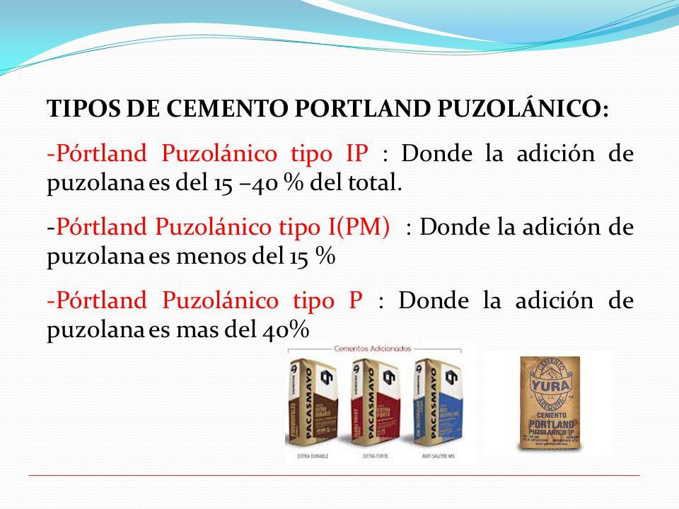 TIPOS DE CEMENTO PORTLAND PUZOLÁNICO: