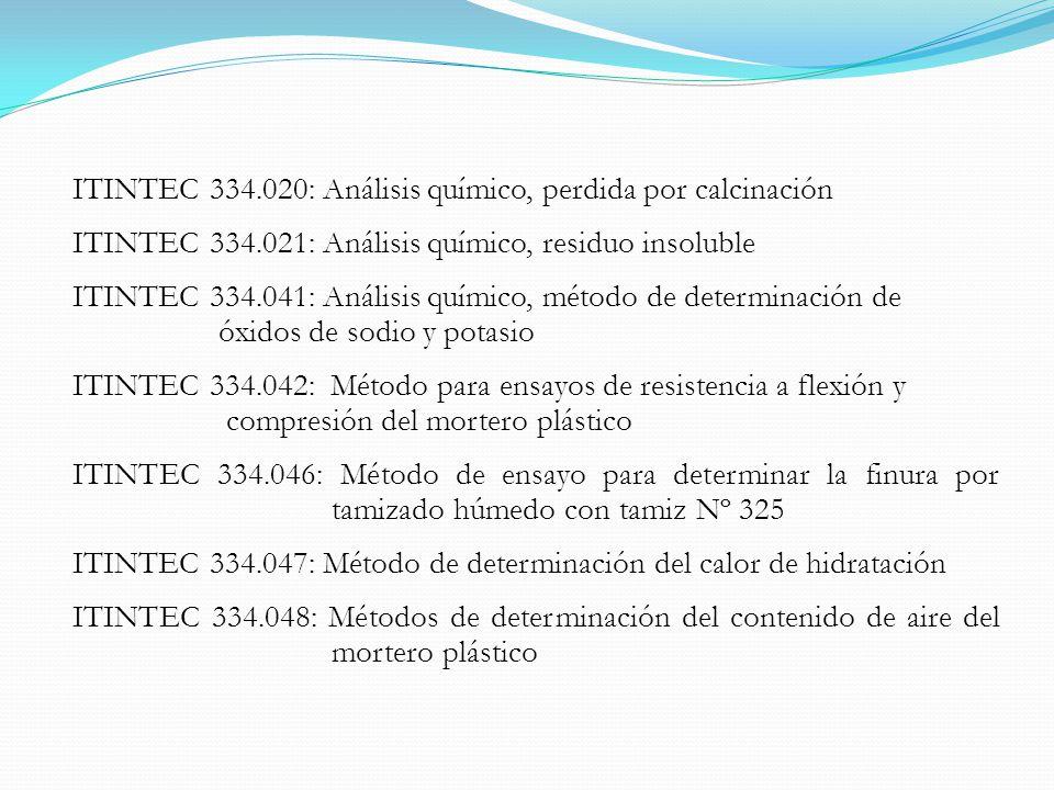 ITINTEC 334.020: Análisis químico, perdida por calcinación