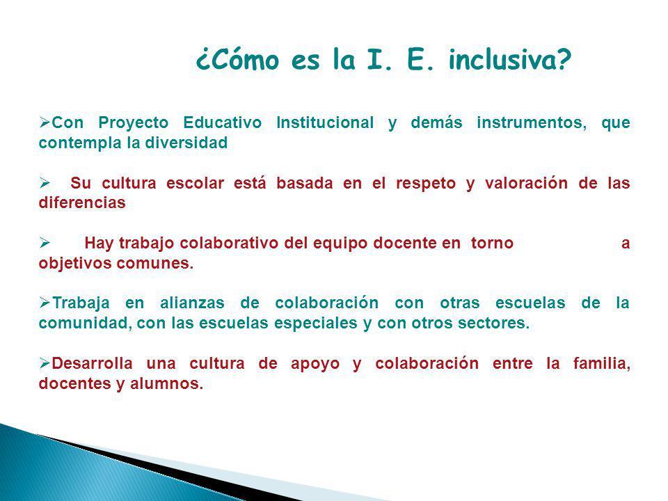 ¿Cómo es la I. E. inclusiva
