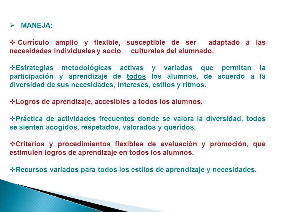 MANEJA: Currículo amplio y flexible, susceptible de ser adaptado a las necesidades individuales y socio culturales del alumnado.
