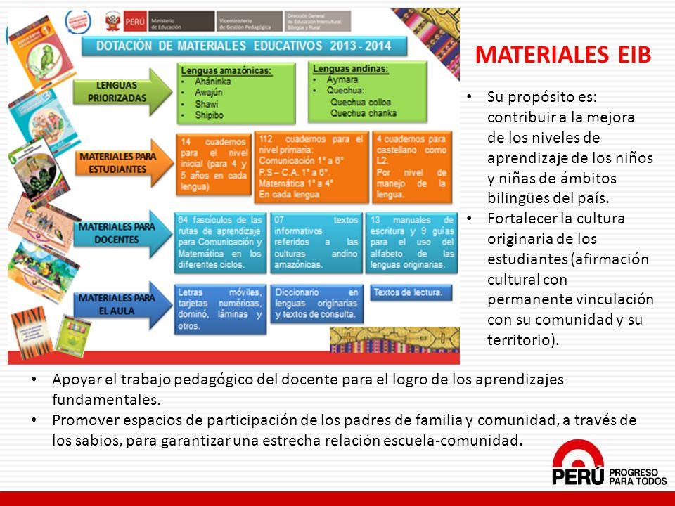 MATERIALES EIB Su propósito es: contribuir a la mejora de los niveles de aprendizaje de los niños y niñas de ámbitos bilingües del país.