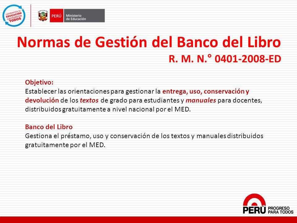 Normas de Gestión del Banco del Libro R. M. N.° 0401-2008-ED