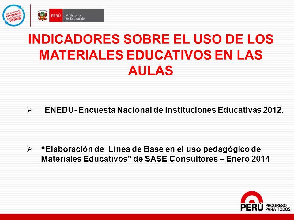 INDICADORES SOBRE EL USO DE LOS MATERIALES EDUCATIVOS EN LAS AULAS
