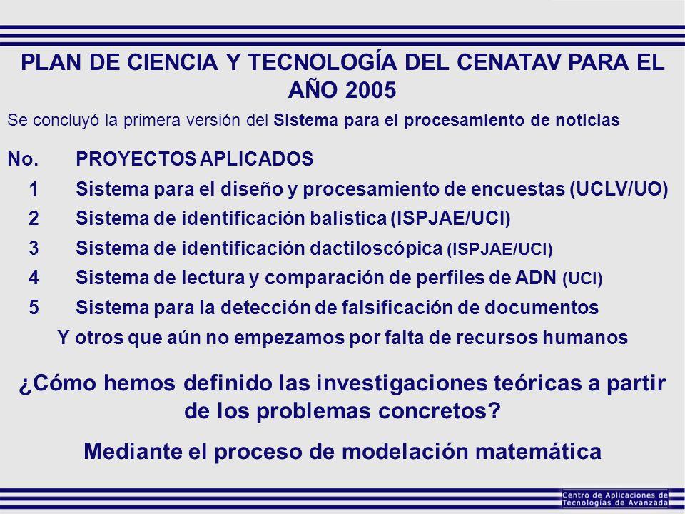 PLAN DE CIENCIA Y TECNOLOGÍA DEL CENATAV PARA EL AÑO 2005