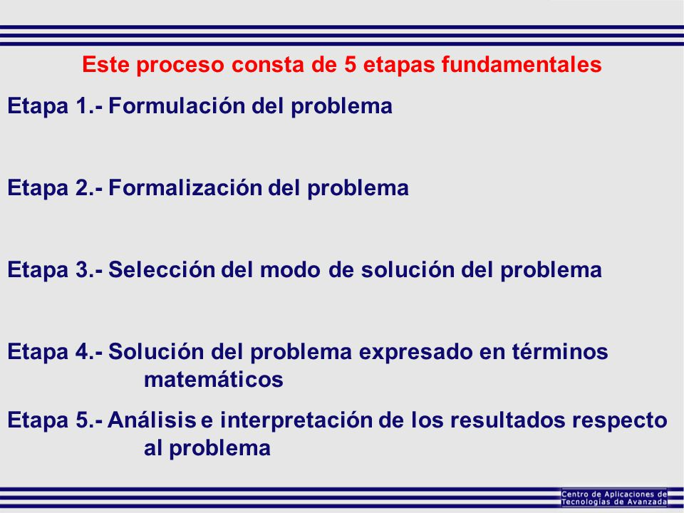 Este proceso consta de 5 etapas fundamentales
