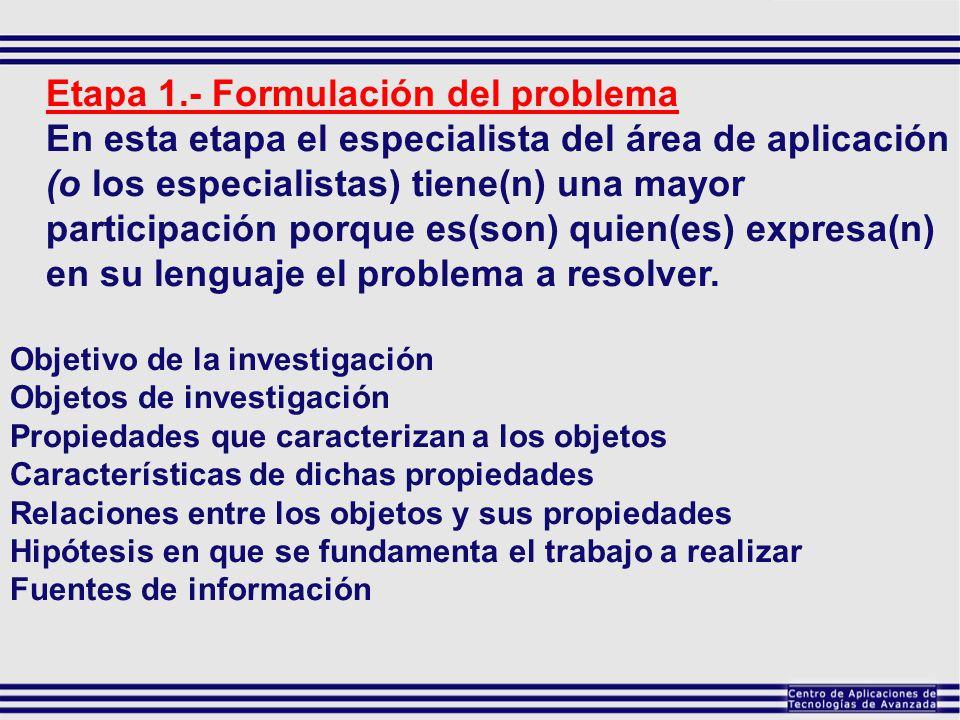 Etapa 1.- Formulación del problema