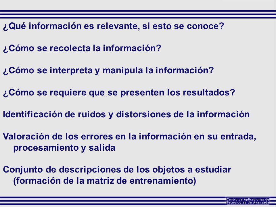 ¿Qué información es relevante, si esto se conoce