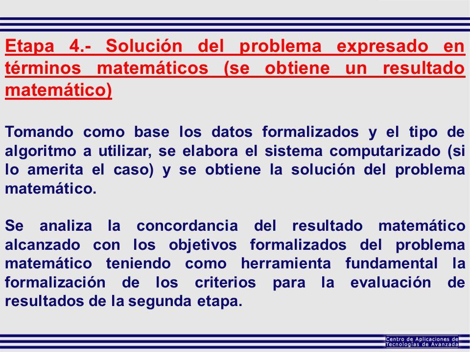 Etapa 4.- Solución del problema expresado en términos matemáticos (se obtiene un resultado matemático)