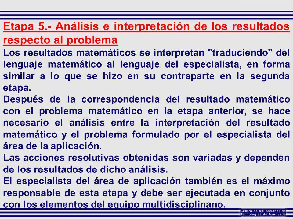 Etapa 5.- Análisis e interpretación de los resultados respecto al problema