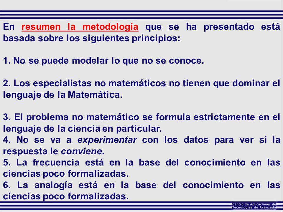 En resumen la metodología que se ha presentado está basada sobre los siguientes principios:
